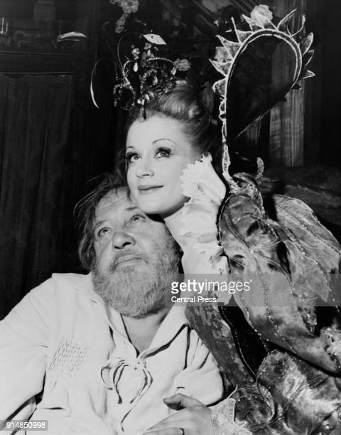Actors Charles Laughton as Bottom and Mary Ure as Titania during rehearsals for a Peter Hall production of the Shakespeare play 'A Midsummer Night's...