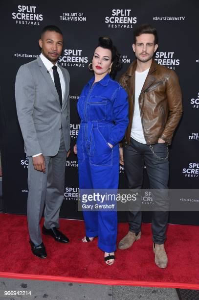 Actors Charles Michael Davis Debi Mazar and Nico Tortorella attend 'The Kids Are All Right The Bittersweet Magic of Younger' premiere during the 2018...