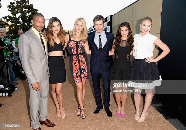 Actors Charles Michael Davis, Phoebe Tonkin, Claire Holt, Joseph Morgan, Danielle Campbell and Leah Pipes arrive at the CW, CBS and Showtime 2013...