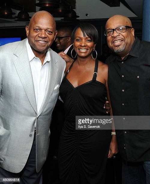 Actors Charles S Dutton Vanessa Bell Calloway and producer Bob Sumner attend the 2014 ABFF_ UP TV Aspire TV Dinner at Soho House on June 20 2014 in...
