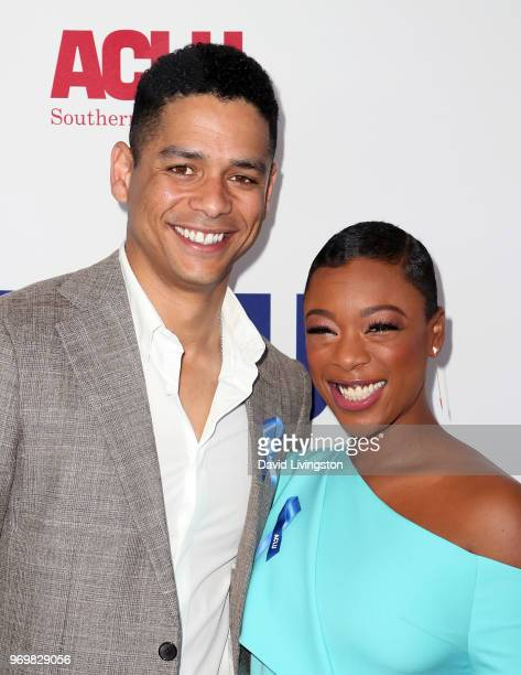 Actors Charlie Barnett and Samira Wiley attend the ACLU SoCal Annual Luncheon at JW Marriott Los Angeles at LA LIVE on June 8 2018 in Los Angeles...