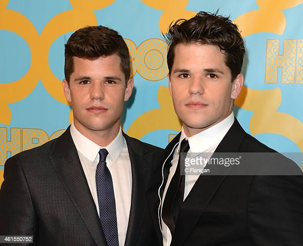 Actors Charlie Carver and Max Carver attends HBO's Official Golden Globe Awards After Party at The Beverly Hilton Hotel on January 11 2015 in Beverly...