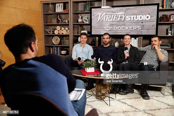 Actors Charlie Carver and Zachary Quinto director Justin Kelly and actor James Franco speak at The Variety Studio At Sundance Presented By Dockers on...
