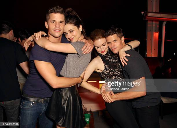 Actors Charlie Carver Crystal Reed Holland Roden and Max Carver attend the Maxim FX and Home Entertainment ComicCon Party on July 19 2013 in San...