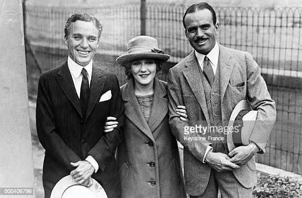 Actors Charlie Chaplin Mary Pickford and Douglas Fairbanks 1930 in London United Kingdom