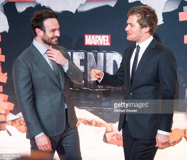 Actors Charlie Cox and Finn Jones attend the 'Marvel's The Defenders' New York premiere at Tribeca Performing Arts Center on July 31 2017 in New York...