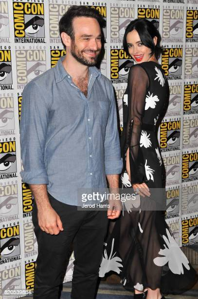 Actors Charlie Cox and Krysten Ritter attend 'Marvel's The Defenders' press line at Comic Con on July 21 2017 in San Diego California