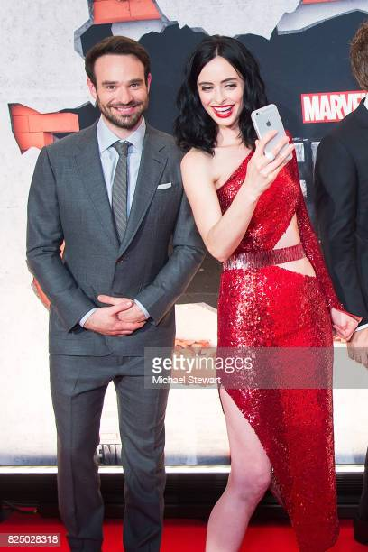 Actors Charlie Cox and Krysten Ritter attend the 'Marvel's The Defenders' New York premiere at Tribeca Performing Arts Center on July 31 2017 in New...