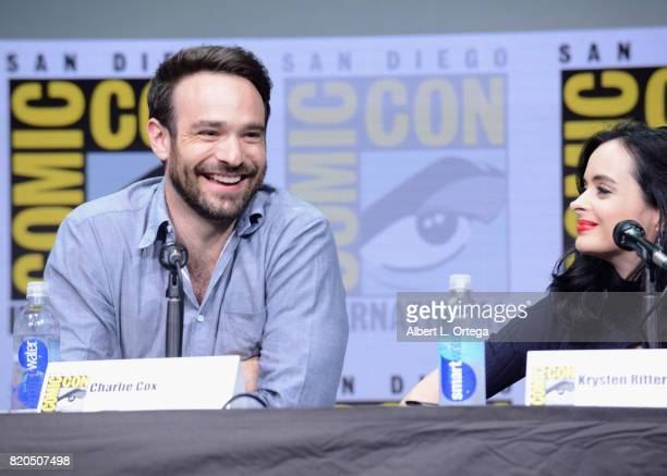 Actors Charlie Cox and Krysten Ritter speak onstage at Netflix's 'The Defenders' panel during ComicCon International 2017 at San Diego Convention...