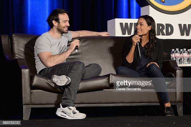 Actors Charlie Cox and Rosario Dawson speak onstage during Wizard World Comic Con Chicago 2016 Day 4 at Donald E Stephens Convention Center on August...