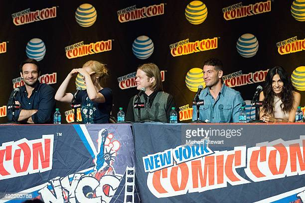 Actors Charlie Cox Deborah Ann Woll Elden Henson Jon Bernthal and Elodie Yung attend Marvel's 'Daredevil' panel during New York ComicCon Day 3 at The...
