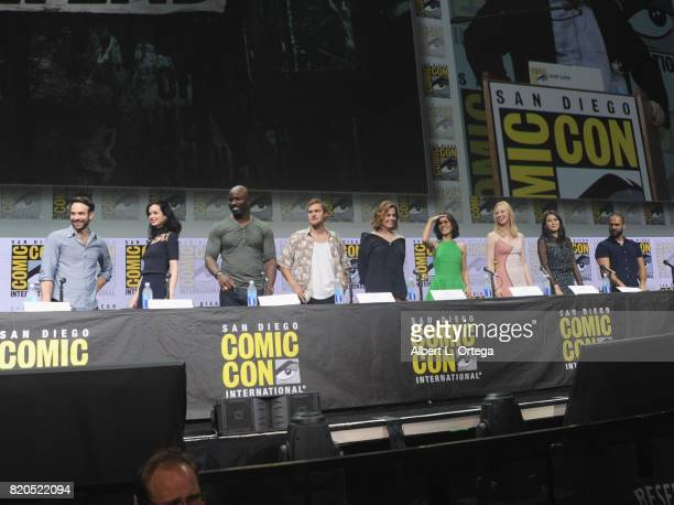 Actors Charlie Cox Krysten Ritter Mike Colter Finn Jones Sigourney Weaver Elodie Yung Deborah Ann Woll and Jessica Henwick and writer/producer Marco...