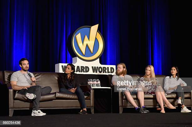 Actors Charlie Cox Rosario Dawson Elden Henson Deborah Ann Woll and Elodie Yung speak onstage during Wizard World Comic Con Chicago 2016 Day 4 at...