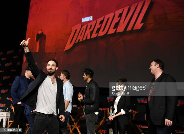 Actors Charlie Cox, Wilson Bethel, Jay Ali, Joanne Whalley and television writer Erik Oleson speak onstage at Marvel's DAREDEVIL panel during New...