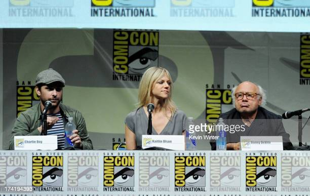"""Actors Charlie Day, Kaitlin Olson, and Danny DeVito speak onstage at the """"It's Always Sunny In Philadelphia"""" screening and Q&A during Comic-Con..."""