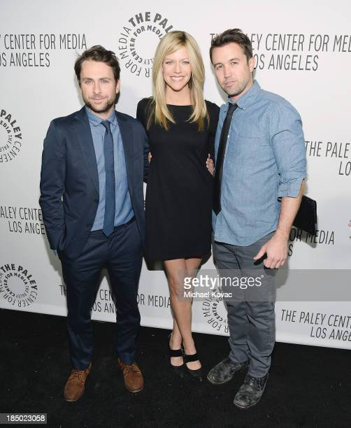 Actors Charlie Day Kaitlin Olson and Rob McElhenney arrive at The Paley Center for Media's 2013 benefit gala honoring FX Networks with the Paley...
