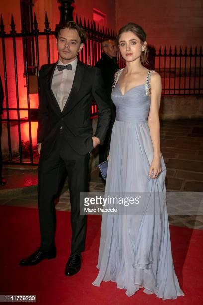 Actors Charlie Heaton and Natalia Dyer attend the Clash De Cartier launch event outside arrivals at La Conciergerie In Paris on April 10 2019 in...