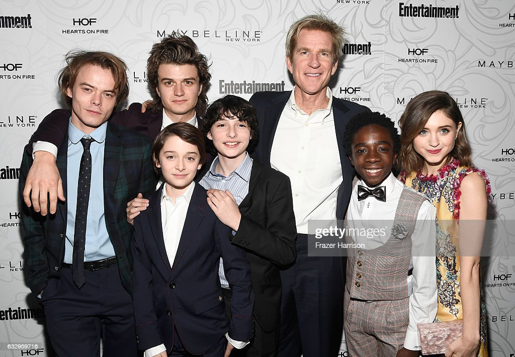 Actors Charlie Heaton, Joe Keery, Noah Schnapp, Finn Wolfhard, Matthew Modine, Caleb McLaughlin and Natalia Dyer attend the Entertainment Weekly Celebration of SAG Award Nominees sponsored by Maybelline New York at Chateau Marmont on January 28, 2017 in Los Angeles, California.