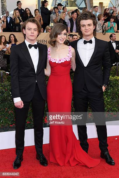 Actors Charlie Heaton Natalia Dyer and Joe Keery attend the 23rd Annual Screen Actors Guild Awards at The Shrine Expo Hall on January 29 2017 in Los...