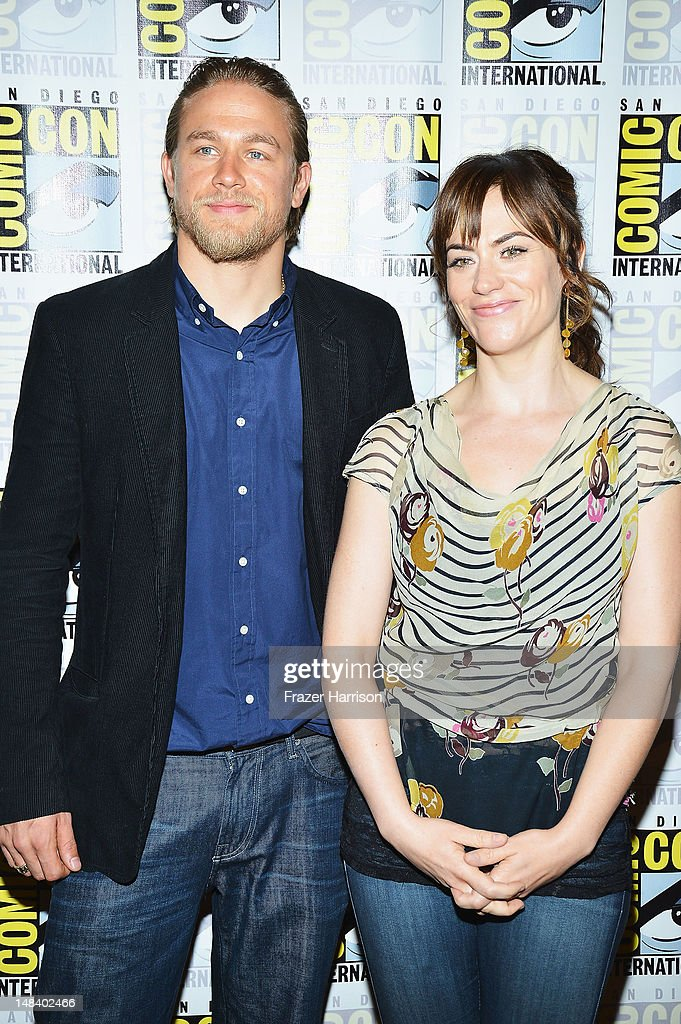 Actors Charlie Hunnam and Maggie Siff attend 'Sons of Anarchy' press line during Comic-Con International 2012 at Hilton San Diego Bayfront Hotel on July 15, 2012 in San Diego, California.