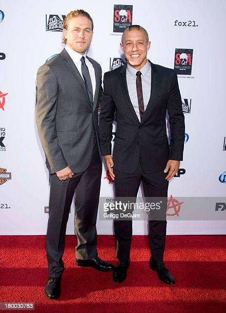 Actors Charlie Hunnam and Theo Rossi arrive at FX's 'Sons Of Anarchy' Season 6 premiere screening at Dolby Theatre on September 7 2013 in Hollywood...