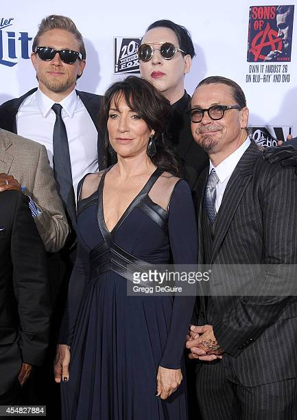 Actors Charlie Hunnam Katey Sagal singer Marilyn Manson and executive producer Kurt Sutter arrive at FX's 'Sons Of Anarchy' premiere at TCL Chinese...