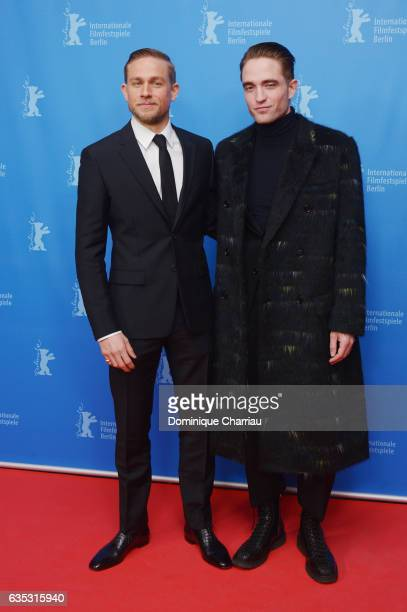 Actors Charlie Hunnam wearing Prada and Robert Pattinson attend the 'The Lost City of Z' premiere during the 67th Berlinale International Film...