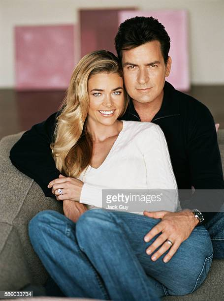 Actors Charlie Sheen and Denise Richards are photographed for Redbook Magazine in 2004 in Los Angeles California COVER IMAGE