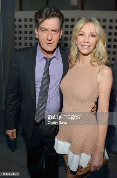 Actors Charlie Sheen and Heather Locklear arrive at the premiere of 'Scary Movie V' presented by Dimension Films in partnership with Lexus and...