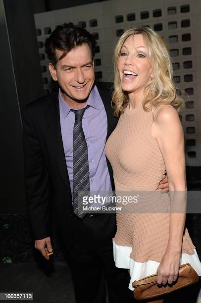 Actors Charlie Sheen and Heather Locklear arrive for the premiere of Dimension Films' 'Scary Movie 5' at ArcLight Cinemas Cinerama Dome on April 11...