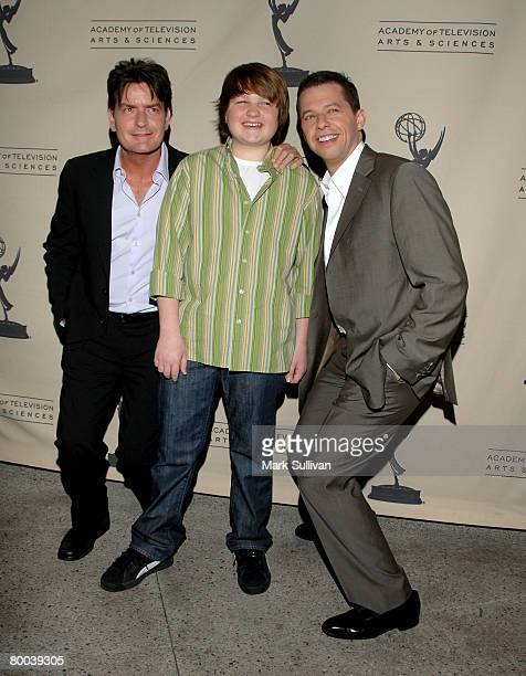 Actors Charlie Sheen Angus T Jones and Jon Cryer arrive at An Evening with Two And A Half Men held on February 27 2008 in North Hollywood California