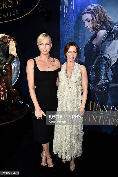 """Actors Charlize Theron and Emily Blunt attend the premiere of Universal Pictures' """"The Huntsman: Winter's War"""" at the Regency Village Theatre on..."""