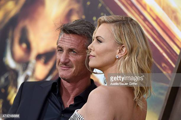 Actors Charlize Theron and Sean Penn arrive at the Los Angeles premiere of 'Mad Max Fury Road' at TCL Chinese Theatre IMAX on May 7 2015 in Hollywood...