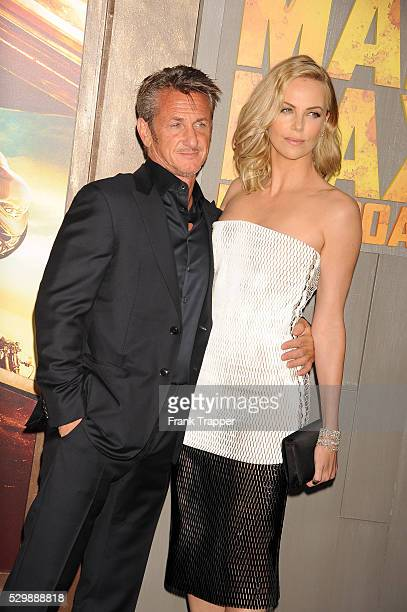 """Actors Charlize Theron and Sean Penn arrive at the premiere of """"Mad Max: Fury Road"""" held at the TCL Chinese Theater in Hollywood."""