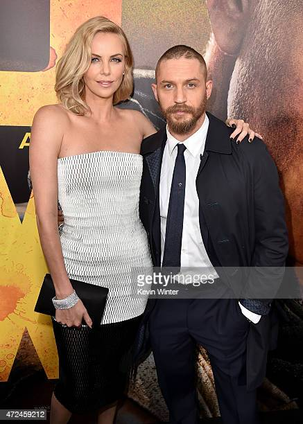"Actors Charlize Theron and Tom Hardy attend the premiere of Warner Bros. Pictures' ""Mad Max: Fury Road"" at TCL Chinese Theatre on May 7, 2015 in..."
