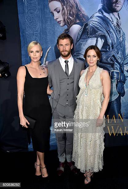 """Actors Charlize Theron, Chris Hemsworth and Emily Blunt attend the premiere of Universal Pictures' """"The Huntsman: Winter's War"""" at the Regency..."""