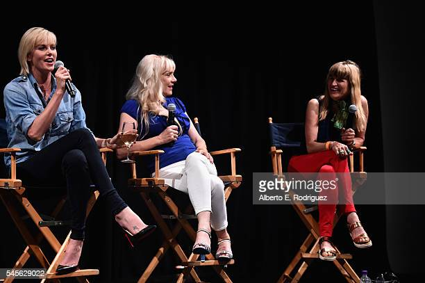 Actors Charlize Theron Glenne Headly and prodution designer Catherine Hardwicke attend a reunion for 'Two Days In The Valley' at NeueHouse Hollywood...