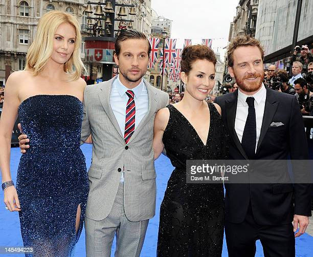 Actors Charlize Theron Logan MarshallGreen Noomi Rapace and Michael Fassbender attend the World Premiere of 'Prometheus' at Empire Leicester Square...