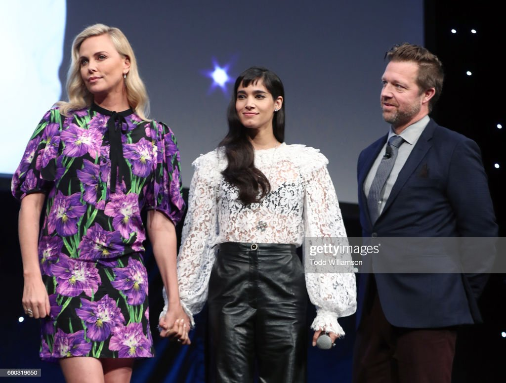 Actors Charlize Theron, Sofia Boutella and director David Leitch speak onstage at CinemaCon 2017- Focus Features: Celebrating 15 Years and a Bright Future at Caesars Palace during CinemaCon, the official convention of the National Association of Theatre Owners, on March 29, 2017 in Las Vegas Nevada.