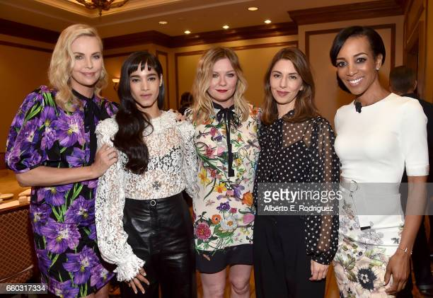 Actors Charlize Theron Sofia Boutella Kirsten Dunst director Sofia Coppola and moderator Shaun Robinson at CinemaCon 2017 Focus Features Celebrating...