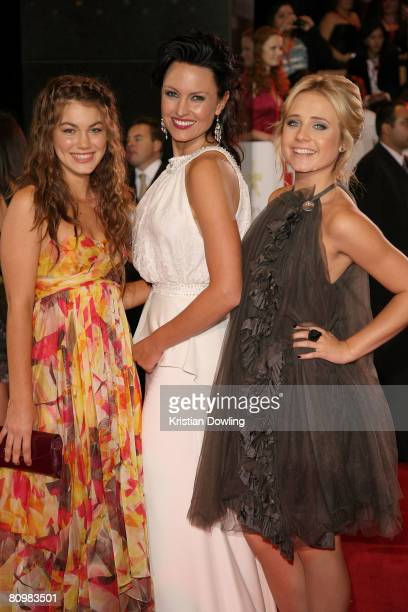 Actors Charlotte Best Amy Mathews andTessa James from Home Away arrive on the red carpet at the 50th Annual TV Week Logie Awards at the Crown Towers...
