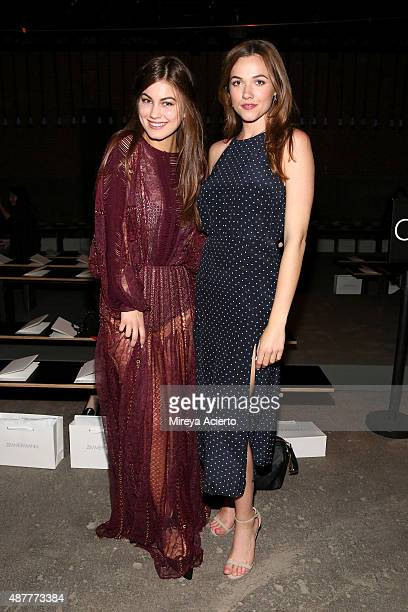 Actors Charlotte Best and Demi Harman attend the Zimmermann fashion show during Spring 2016 New York Fashion Week at Art Beam on September 11 2015 in...