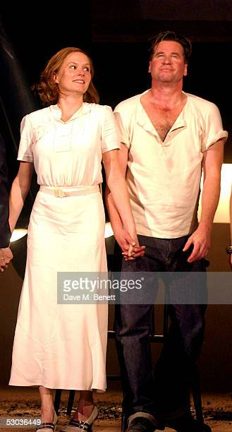 Actors Charlotte Emmerson and Val Kilmer appear at the curtain call following the press night for The Postman Always Rings Twice at The Playhouse...