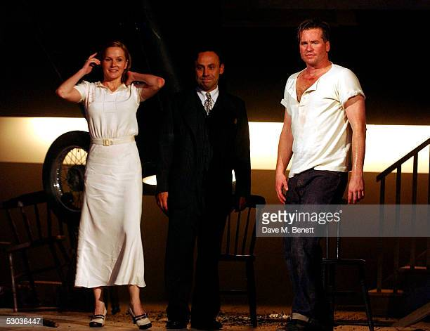 Actors Charlotte Emmerson Joe Alessi and Val Kilmer appear at the curtain call following the press night for The Postman Always Rings Twice at The...