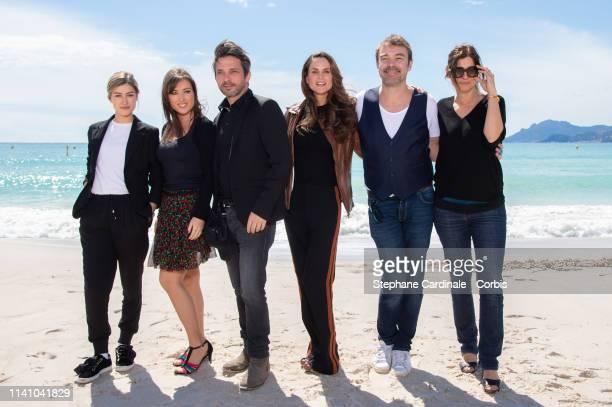 Actors Charlotte Marzo Elsa Esnoult Sebastien Roch Carole Dechantre Patrick Puydebat and Laly Meignan attend 'Les mysteres de l'amour' photocall on...