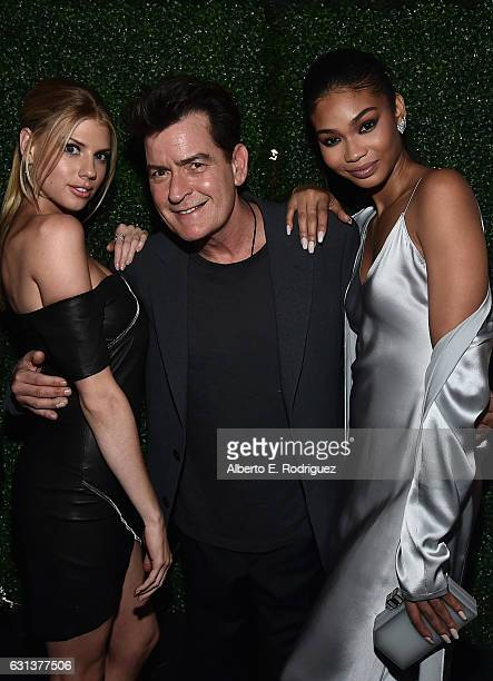 Actors Charlotte McKinney Charlie Sheen and Chanel Iman attend the premiere party for Crackle's 'Mad Families' at Catch on January 9 2017 in West...