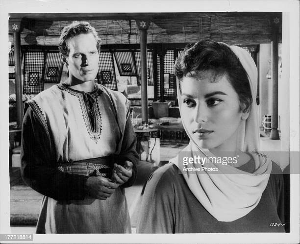 Actors Charlton Heston and Haya Harareet in a scene from the movie 'Ben Hur' 1959