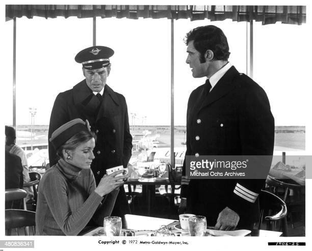 Actors Charlton Heston and James Brolin and actress Yvette Mimieux in a scene from the movie Skyjacked circa 1972