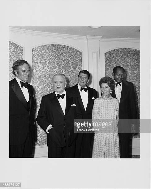 Actors Charlton Heston and James Cagney with Governor of California Ronald Reagan his wife Nancy Reagan and Los Angeles Mayor Tom Bradley attending...
