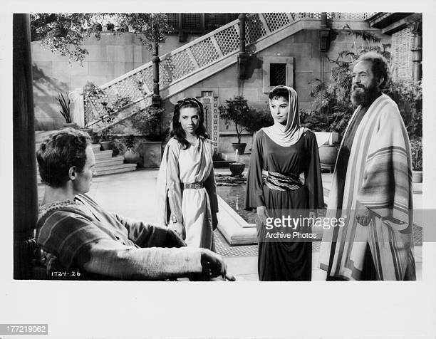 Actors Charlton Heston Haya Harareet and Marina Berti in a scene from the the movie 'Ben Hur' 1959